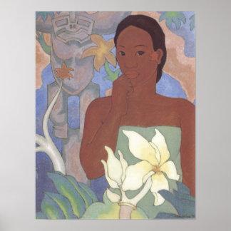 """""""Mujer polinesia y Tiki"""" - Arman Manookian Poster"""