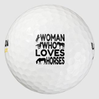 Mujer que ama caballos pack de pelotas de golf