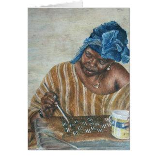 Mujer que aplica la goma de Bologan Tarjeta De Felicitación
