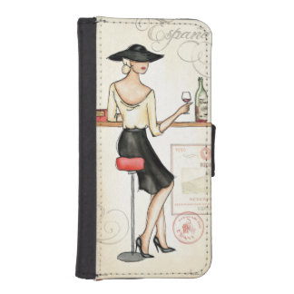 Mujer que bebe el vino español billetera para iPhone 5
