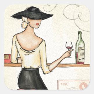 Mujer que bebe el vino español pegatina cuadrada