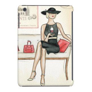 Mujer que bebe el vino rojo fundas de iPad mini