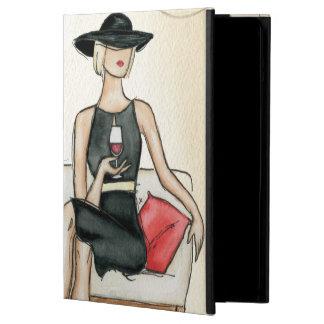 Mujer que bebe el vino rojo