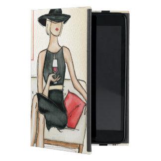 Mujer que bebe el vino rojo iPad mini funda