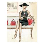 Mujer que bebe el vino rojo postales