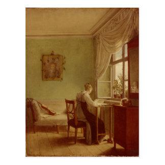 Mujer que borda, 1812 tarjeta postal