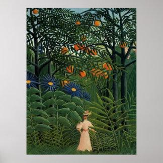 """""""Mujer que camina en un Forest exótico Póster"""