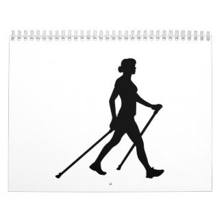 Mujer que camina nórdica calendarios