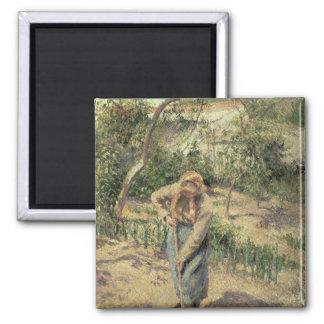 Mujer que cava en una huerta, 1882 imán cuadrado