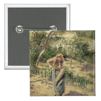 Mujer que cava en una huerta, 1882 pin cuadrado
