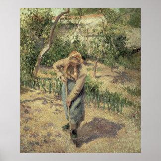 Mujer que cava en una huerta, 1882 póster
