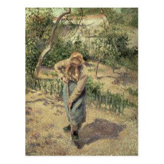 Mujer que cava en una huerta, 1882 tarjetas postales