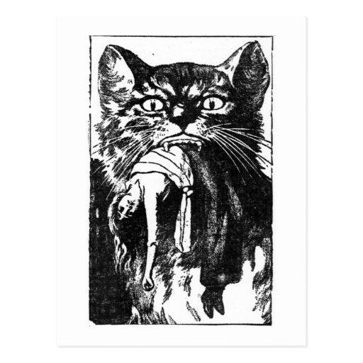 Mujer que come el gato tarjeta postal