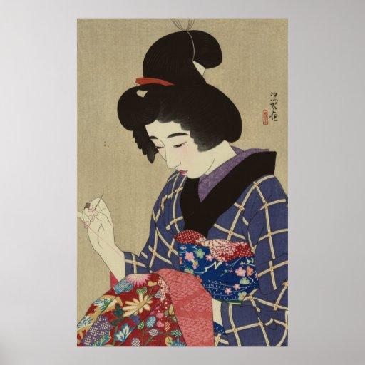 Mujer que cose, Itō Shinsui - japonés Woodblock Impresiones