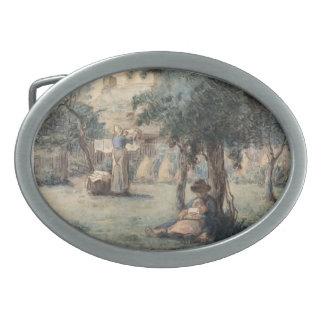 Mujer que cuelga su lavadero por el mijo de Jean-F Hebillas De Cinturón Ovales