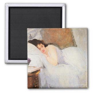 Mujer que despierta, 1876 (aceite en lona) imán cuadrado