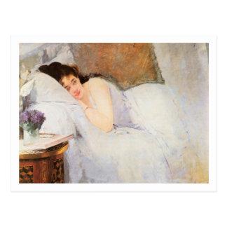 Mujer que despierta, 1876 (aceite en lona) tarjeta postal