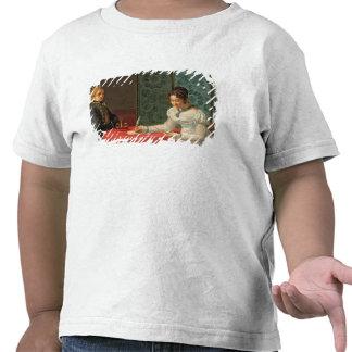 Mujer que escribe una letra camiseta