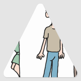 Mujer que espía en novio pegatina triangular