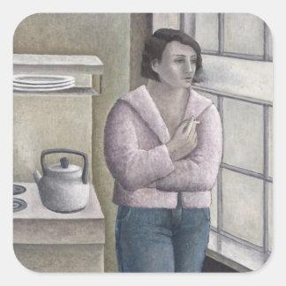 Mujer que fuma 1996 pegatina cuadrada