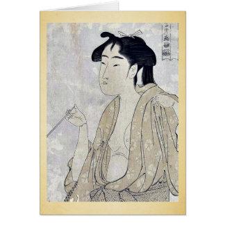 Mujer que fuma un tubo por Kitagawa, Utamaro Ukiyo Tarjeton