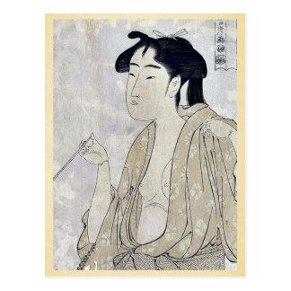 Mujer que fuma un tubo por Kitagawa, Utamaro Ukiyo Postal