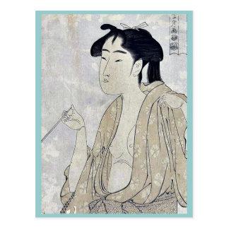 Mujer que fuma un tubo por Kitagawa, Utamaro Ukiyo Postales