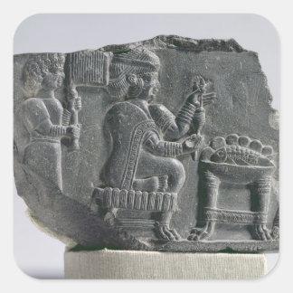 Mujer que hace girar, período Neo-Elamite, c.700- Pegatina Cuadrada