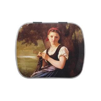 Mujer que hace punto de William-Adolphe Bouguereau Frascos De Caramelos