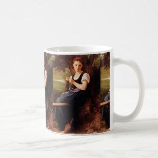 Mujer que hace punto de William-Adolphe Bouguereau Taza Clásica