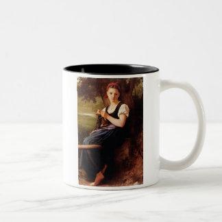 Mujer que hace punto de William-Adolphe Bouguereau Taza De Dos Tonos