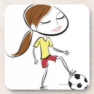 Mujer que juega a fútbol posavasos de bebidas