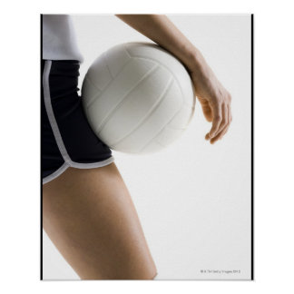 mujer que juega a voleibol póster