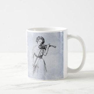 Mujer que juega el ejemplo del vintage del violín taza de café