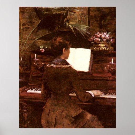 Mujer que juega el piano póster