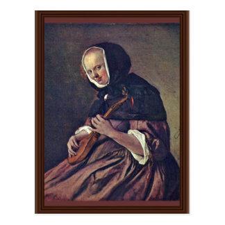Mujer que juega el Sistrum., en enero Steen (el me Postales