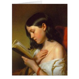 Mujer que lee 1850 tarjeta de felicitación grande