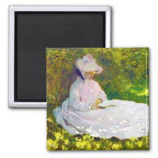 Mujer que lee a Claude Monet Imán Cuadrado