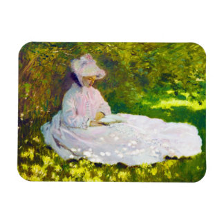 Mujer que lee a Claude Monet Rectangle Magnet