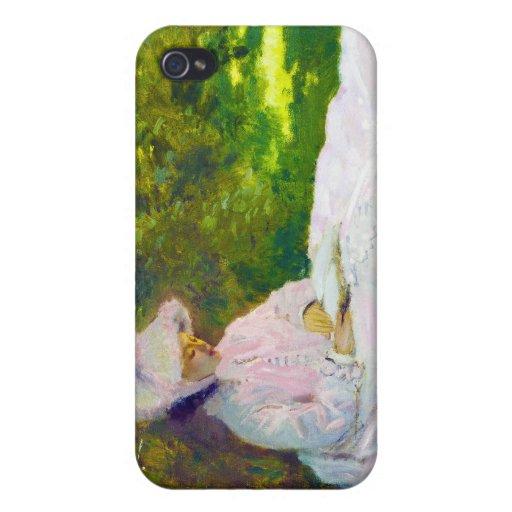 Mujer que lee a Claude Monet iPhone 4/4S Funda