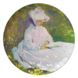Mujer que lee a Claude Monet Plato Para Fiesta