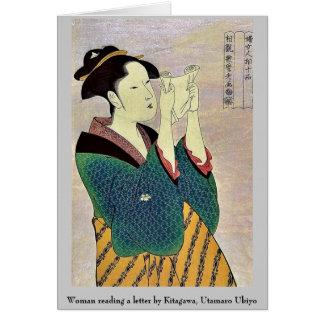 Mujer que lee una letra por Kitagawa, Utamaro Tarjeta Pequeña
