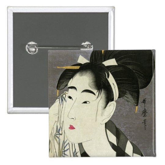 Mujer que limpia el arte japonés fino sudado de pin cuadrado