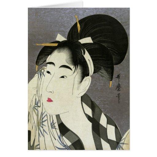 Mujer que limpia el arte japonés fino sudado de tarjeta pequeña