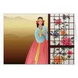 mujer que lleva un hanbok tarjeton