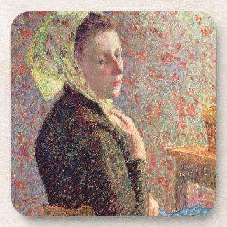 Mujer que lleva un pañuelo verde, 1893 posavasos de bebida