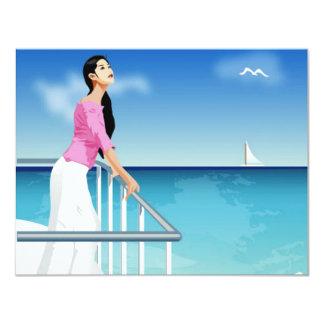 mujer que mira el mar comunicado personalizado