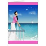 mujer que mira el mar tarjeta