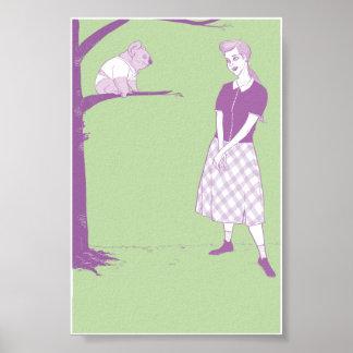 Mujer que mira en el oso de koala 4x6 poster