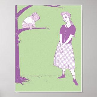 Mujer que mira en el oso de koala 8.5x11 impresiones